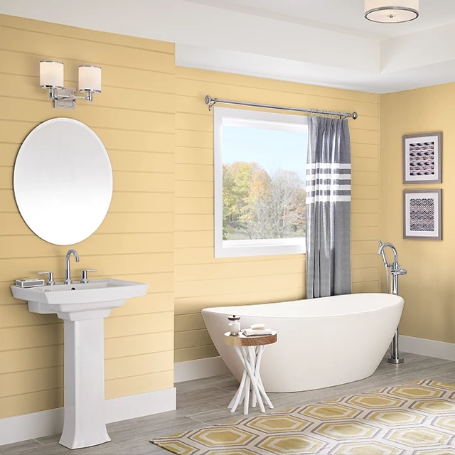 Bathroom painted in PINEAPPLE CITRUS