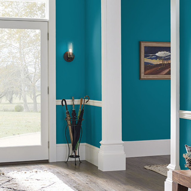 Foyer painted in TRUE TEAL
