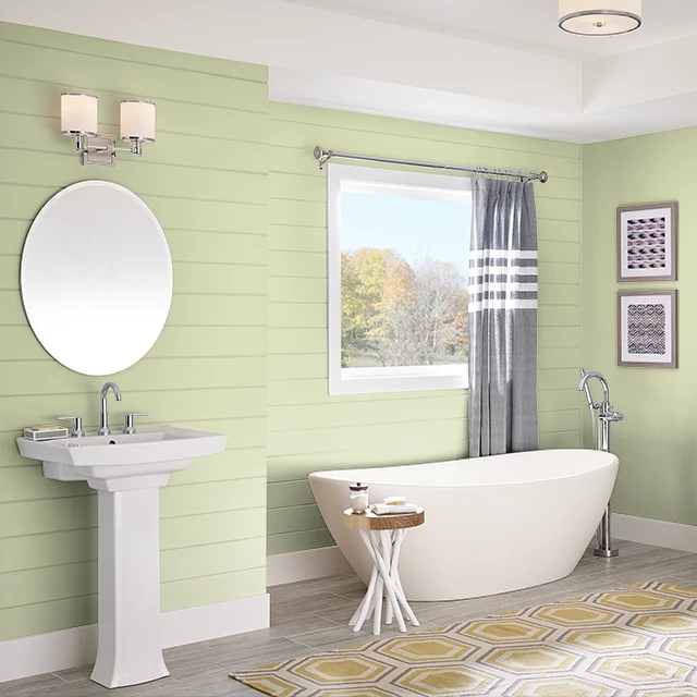 Bathroom painted in CELERY STICK