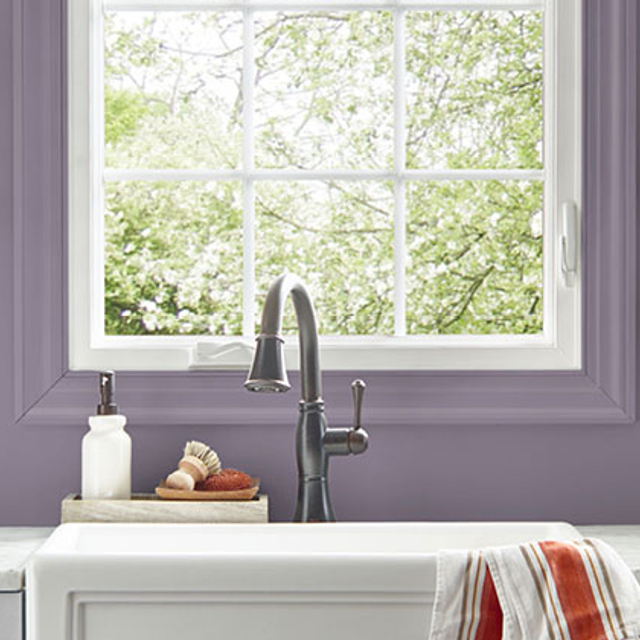 Kitchen painted in ORCHID SMOKE