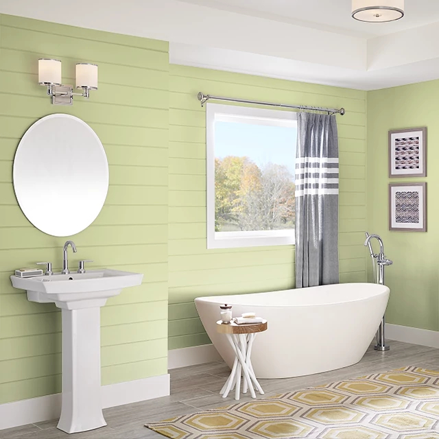 Bathroom painted in BASIC LIME
