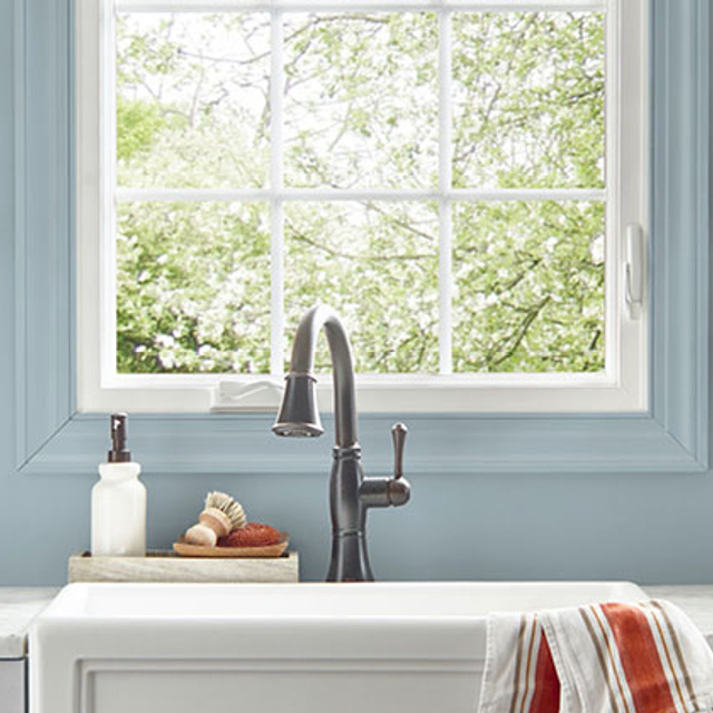 Kitchen painted in CHAMBRAY BLUE