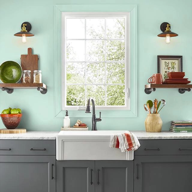Kitchen painted in JADE SEA