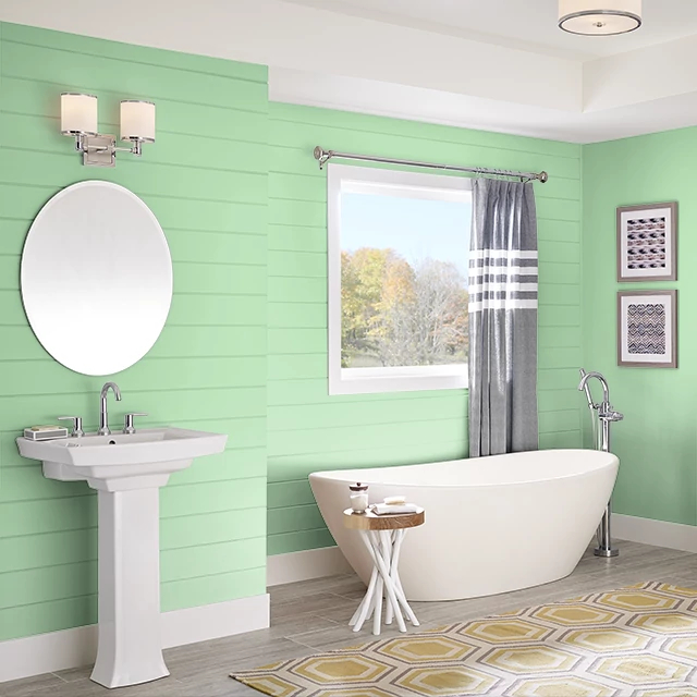 Bathroom painted in APPLE MARTINI