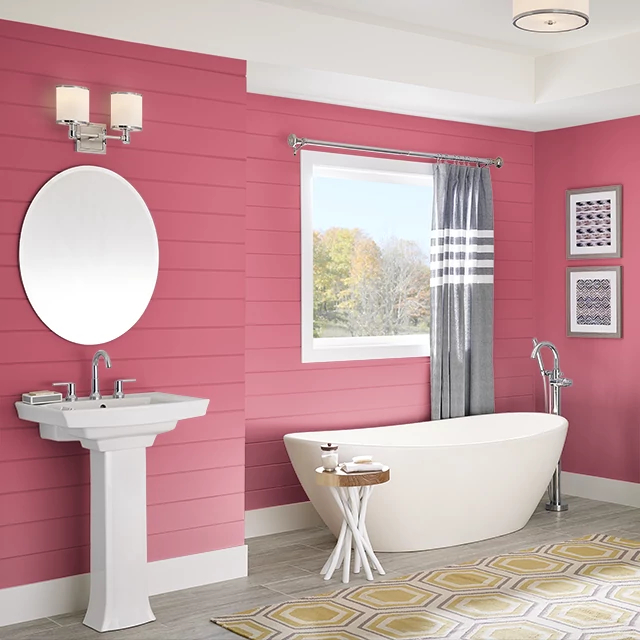 Bathroom painted in IBIS PINK