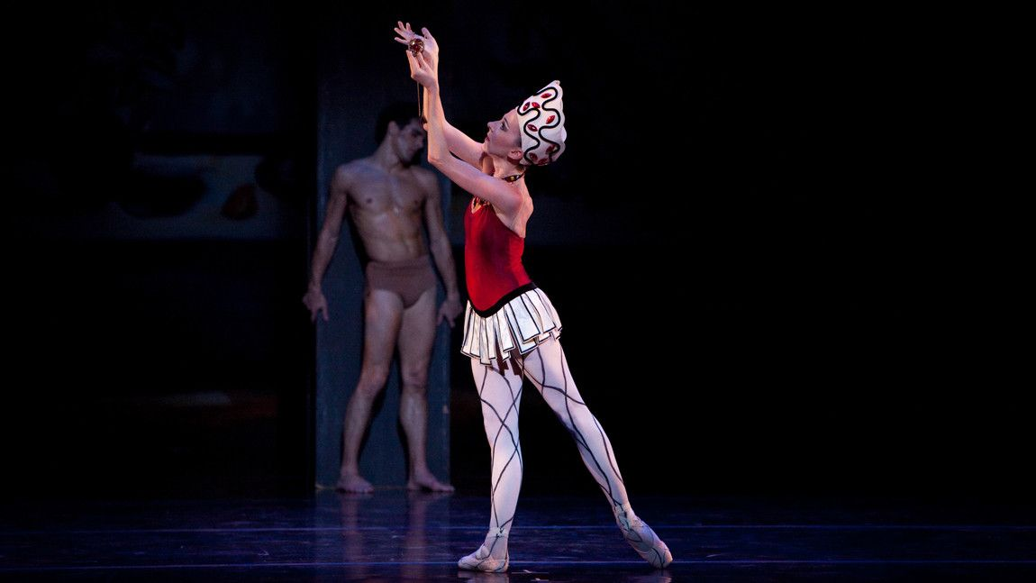 Melanie Atkins and Yury Yanowsky in George Balanchine's Prodigal Son. Photo by Rosalie O'Connor