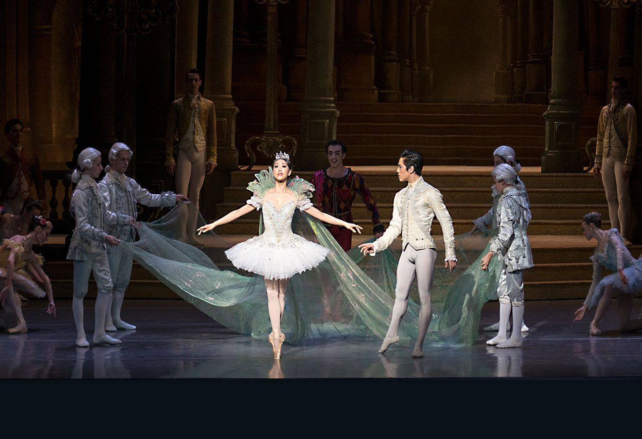 Cinderella's entrance to the ball is made even more magical by a 27-foot-long, hand-painted silk cape. Boston Ballet in Ashton's Cinderella by Gene Schiavone
