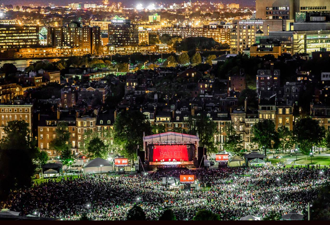 Panoramic shot of the crowds on Boston Common for the first ever Boston Ballet's Night of Stars on Boston Common.