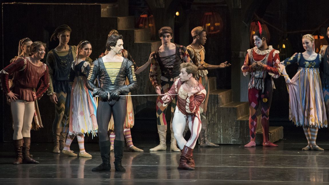 Eris Nezha as Tybalt and Derek Dunn as Mercutio with the artists of Boston Ballet in the 2018 production of John Cranko's Romeo & Juliet