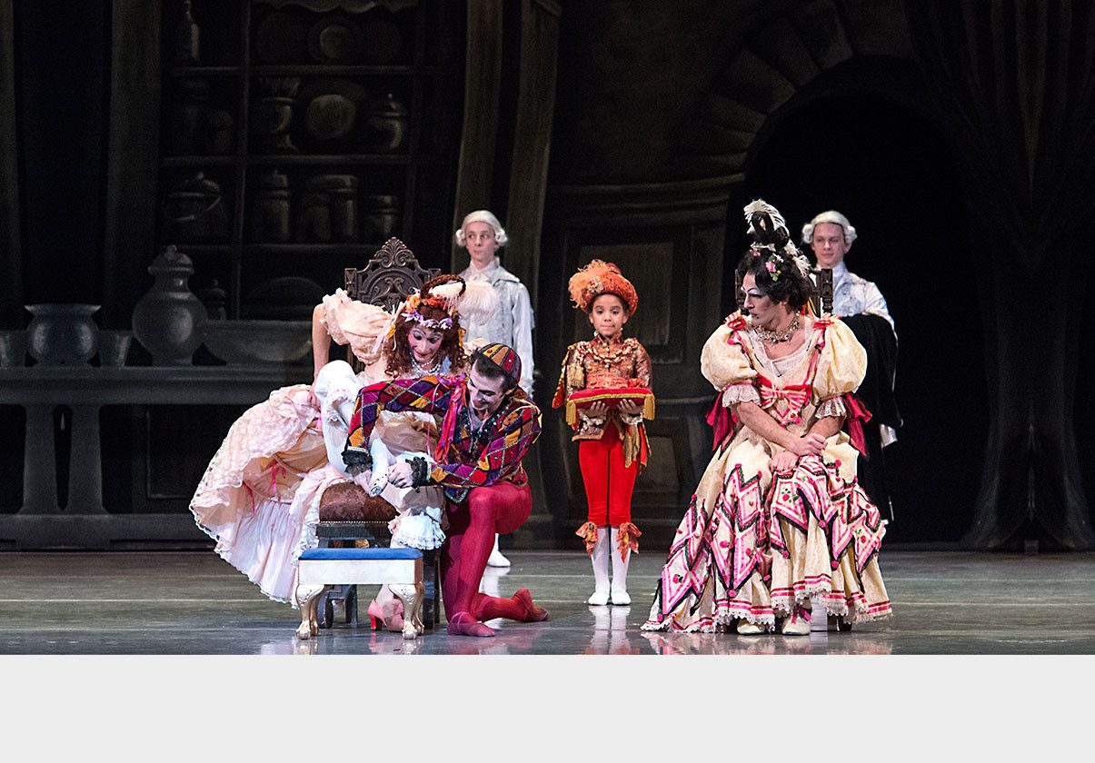The costumes are crucial in bringing the exaggerated stepsister characters to life. Boston Ballet in Ashton's Cinderella by Gene Schiavone