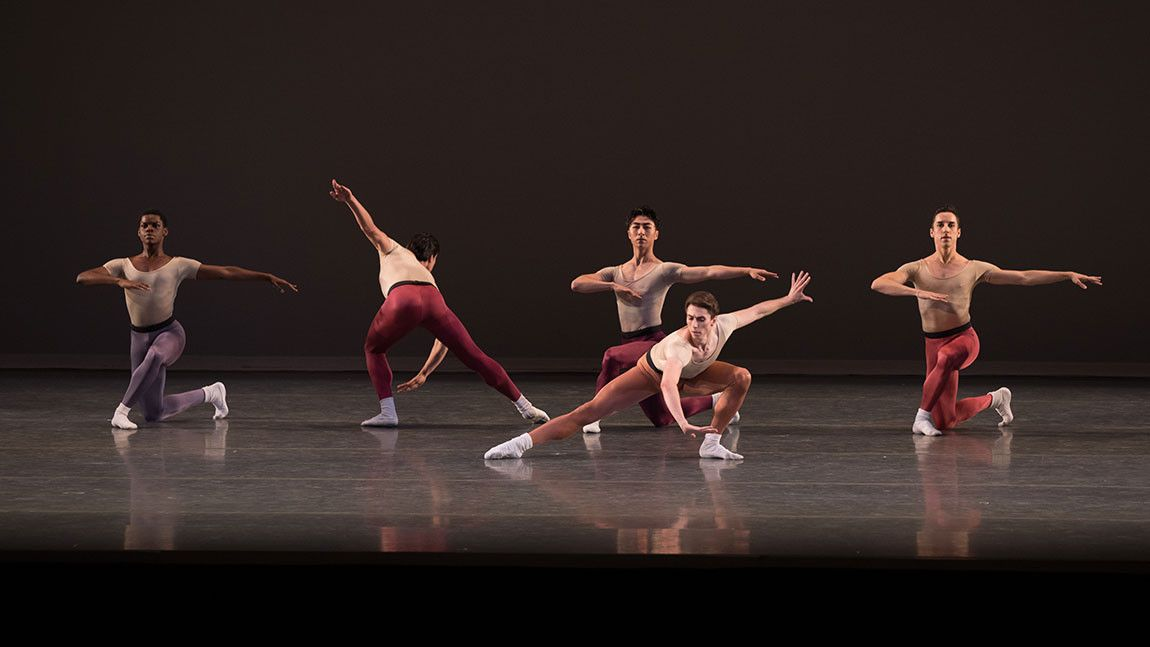 Male dancers in Jerome Robbins Glass Pieces. Photographed by Rosalie O'Connor