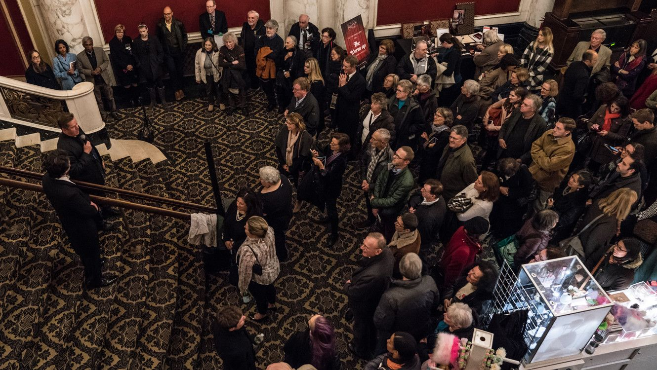 Conductor Daniel Stewart and Artistic Director Mikko Nissinen talk with the crowd during the Obsidian Tear Post Show Talk