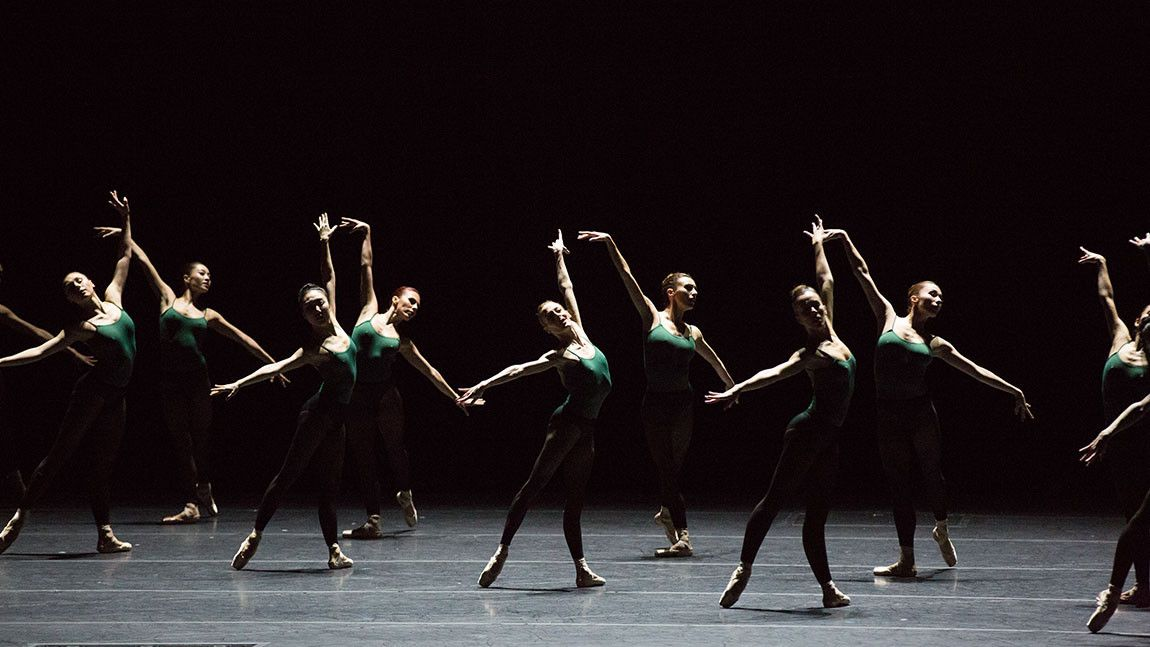 Boston Ballet dancers in green leotards dancing in William Forsythe's Artifact 2018, photographed by Rosalie O'COnnor