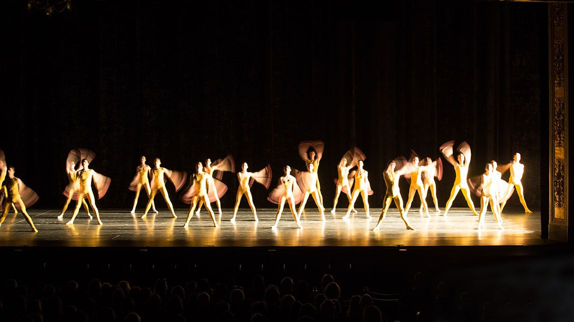 Boston Ballet dancers in yellow leotards on stage in William Forsythe's Artifact 2018, photographed by Rosalie O'Connor