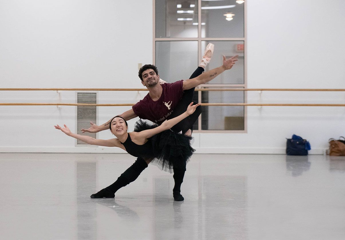 Ji Young Chae and Tigran Mkrtchyan rehearsing in the studio. Photo by Brooke Trisolini
