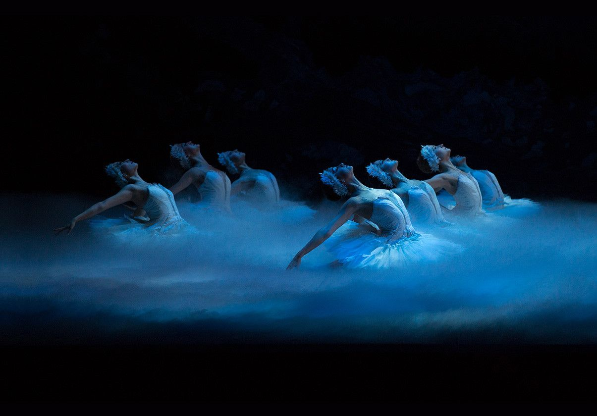 Boston Ballet dancers in white swan tutus in Swan Lake by Gene Schiavone