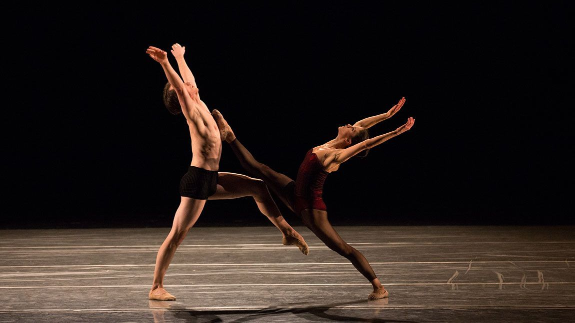 Dancers Sarah Wroth and Paul Craig on stage in Jiří Kylián's Bella Figura photographed by Rosalie O'Connor
