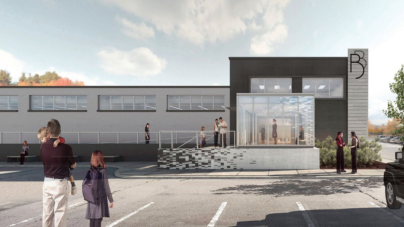 Architectural rendering of the entrance to the new Newton Studio.