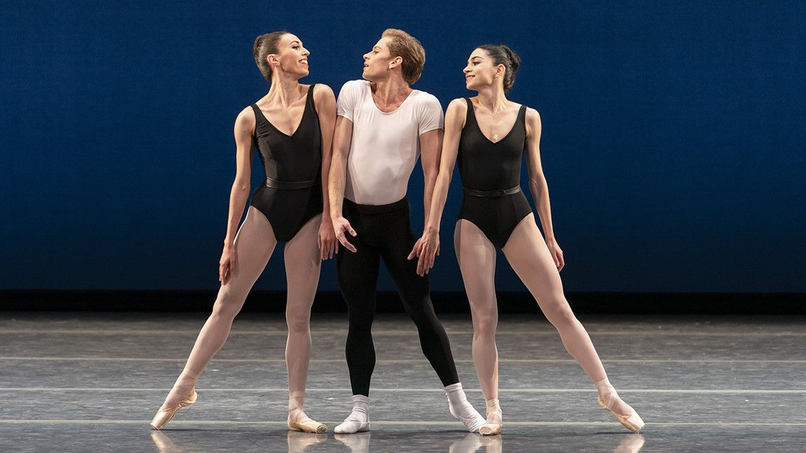 Maria Alvarez, Derek Dunn, and Nina Matiashvili in George Balanchine's Agon ©The George Balanchine Trust. Photo by Liza Voll.