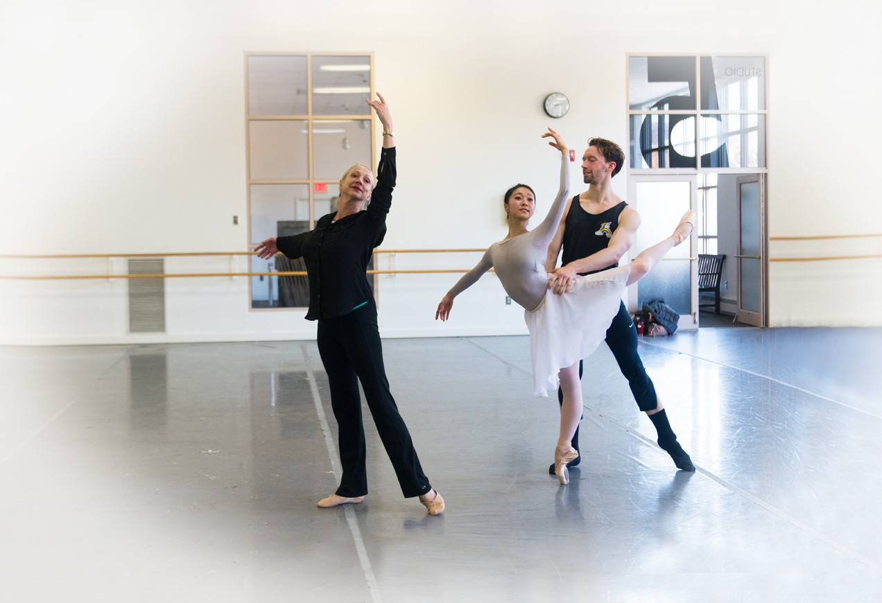 Stager Diana White with Principal Dancers Misa Kuranaga, and Patrick Yocum in rehearsals for George Balanchine's Chaconne
