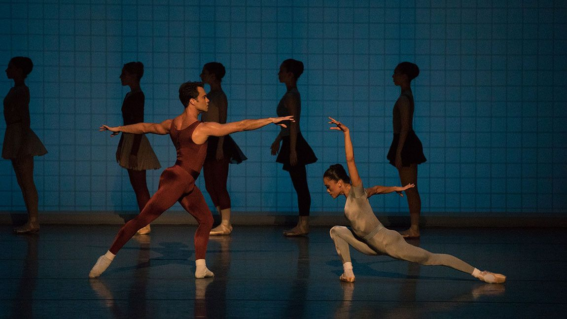Boston Ballet dancers in Glass Pieces, choreography by Jerome Robbins, photo by Rosalie O'Connor