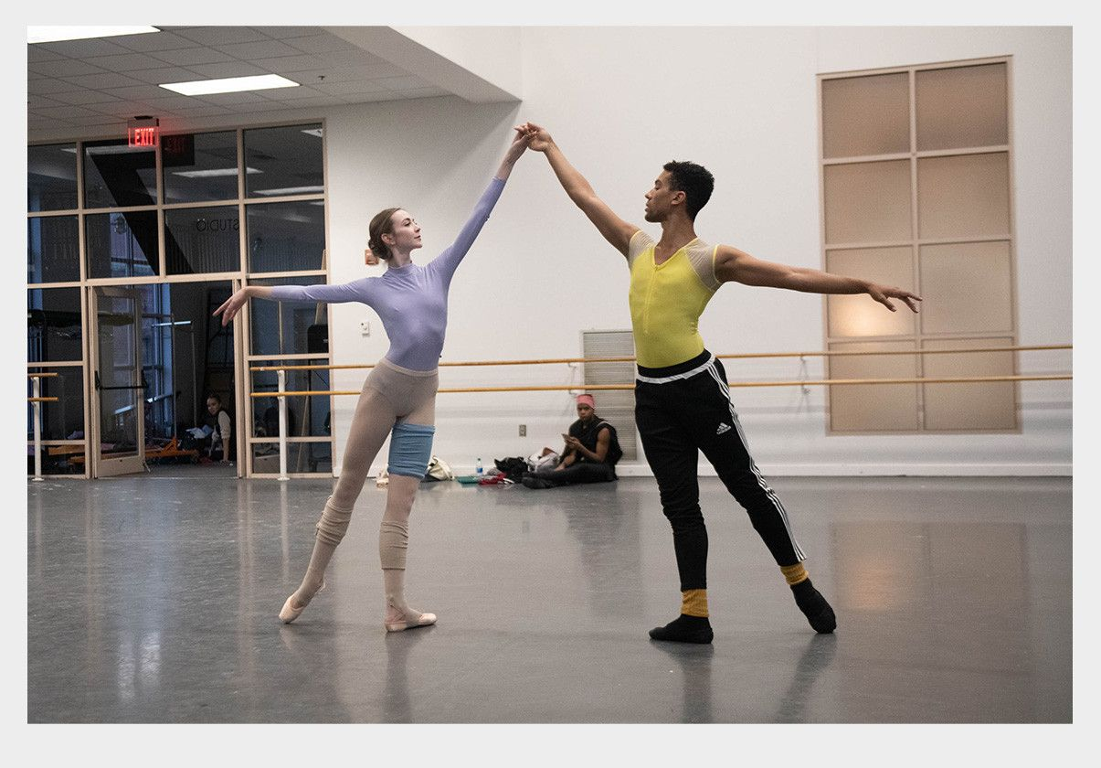 Addie Tapp and Desean Taber rehearsing Agon for rEVOLUTION. Photo by Brooke Trisolini.