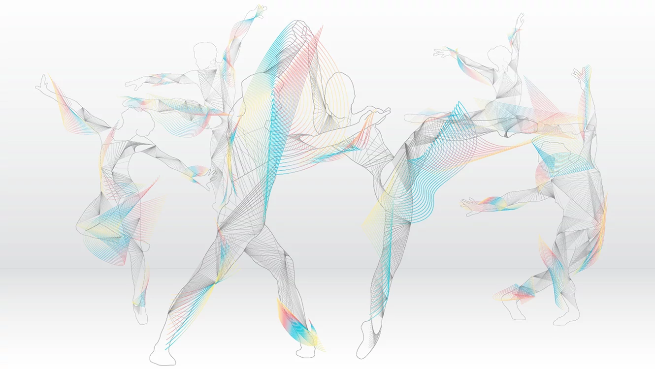 Turning Pointe Logo. Black background, stylized dancer on right side, Turning Pointe logo on lower left side