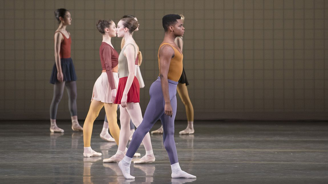 Daniel Durrett with Artists of Boston Ballet in Glass Pieces, choreography by Jerome Robbins, photo by Liza Voll.