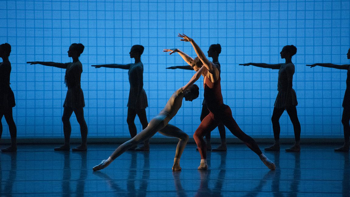Addie Tapp and Patrick Yocum with Artists of Boston Ballet in Glass Pieces, choreography by Jerome Robbins. Photo by Liza Voll.