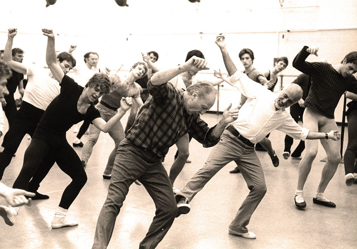 George Balanchine and Jerome Robbins in rehearsal for Pulcinella