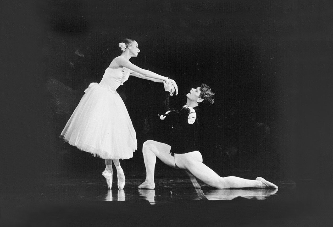 Larissa Ponomarenko and Patrick Armand in Boston Ballet's Giselle, circa 1994, choreographed by Lavrovsky after Coralli and Perrot. Photo by Jaye R. Phillips.