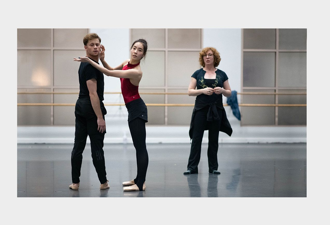 Seo Hye Han and Derek Dunn in dance studio rehearsals with choreographer Helen Pickett by Brooke Trisolini