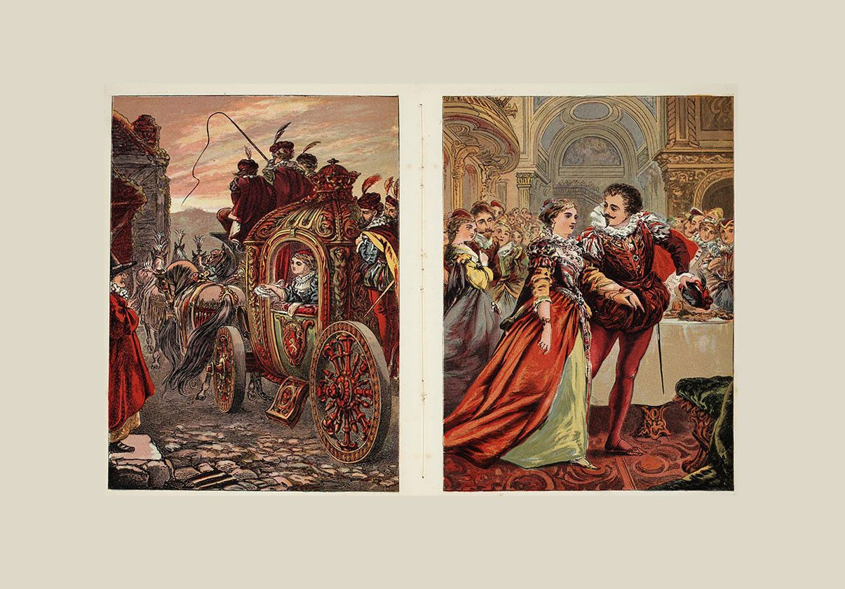 Illustrations of Cinderella featured in Asschepoester (The Glass Slipper) by Charles Perrault. Courtesy of the Dutch National Library.