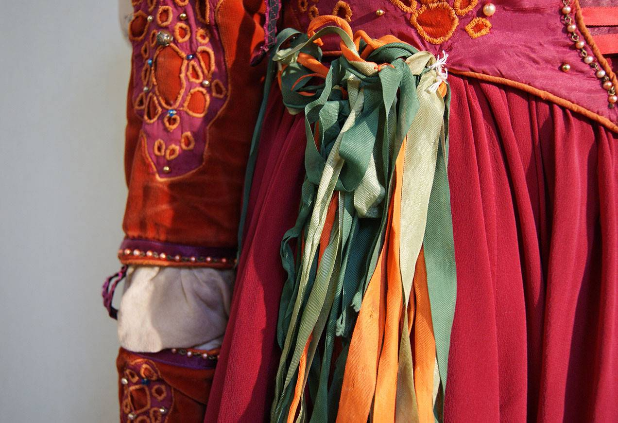 A close-up look at a gypsy costume for Romeo & Juliet.