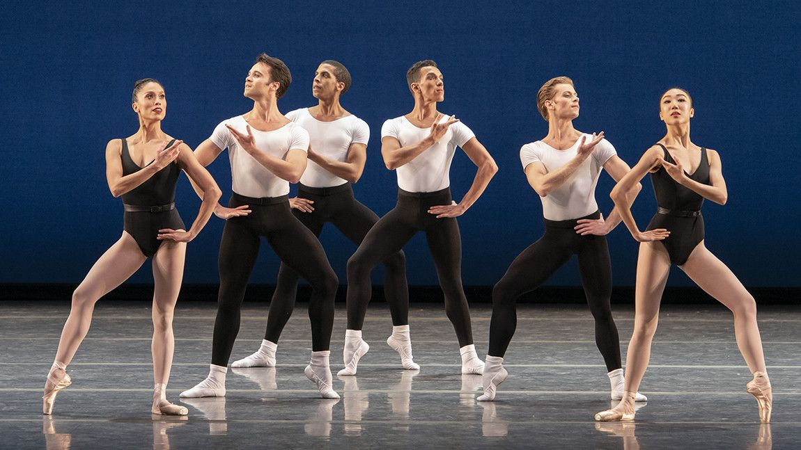 Boston Ballet in George Balanchine's Agon ©The George Balanchine Trust. Photo by Liza Voll.