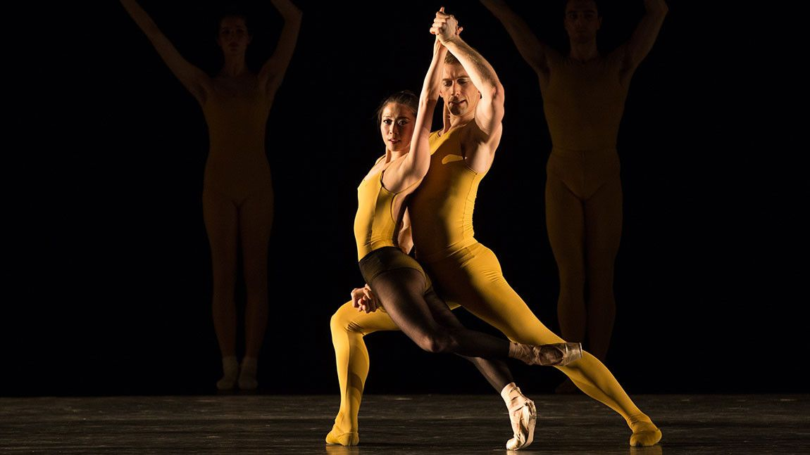 Dancers Misa Kuranaga and Patrick Yocum in yellow leotards in William Forsythe's Artifact 2018 photographed by Rosalie O'Connor