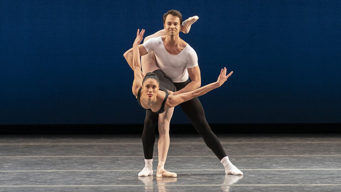 Lia Cirio and Paulo Arrais in George Balanchine's Agon ©The George Balanchine Trust. Photo by Liza Voll.