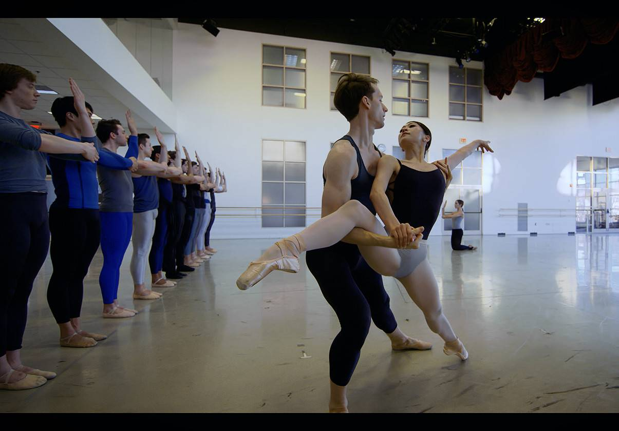Misa Kuranaga and Patrick Yocum in rehearsal for William Forsythe's Artifact. Image credit, Ernesto Galan