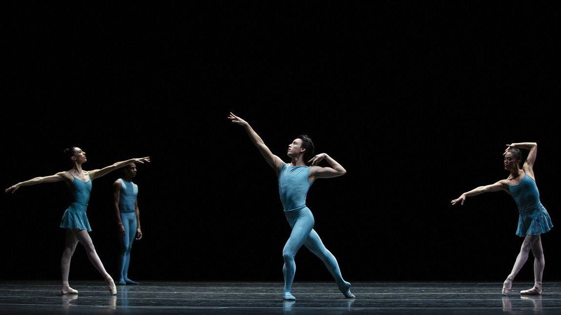 Benji Pearson with Artists of Boston Ballet on stage in William Forsythe's Blake Works I by Angela Sterling