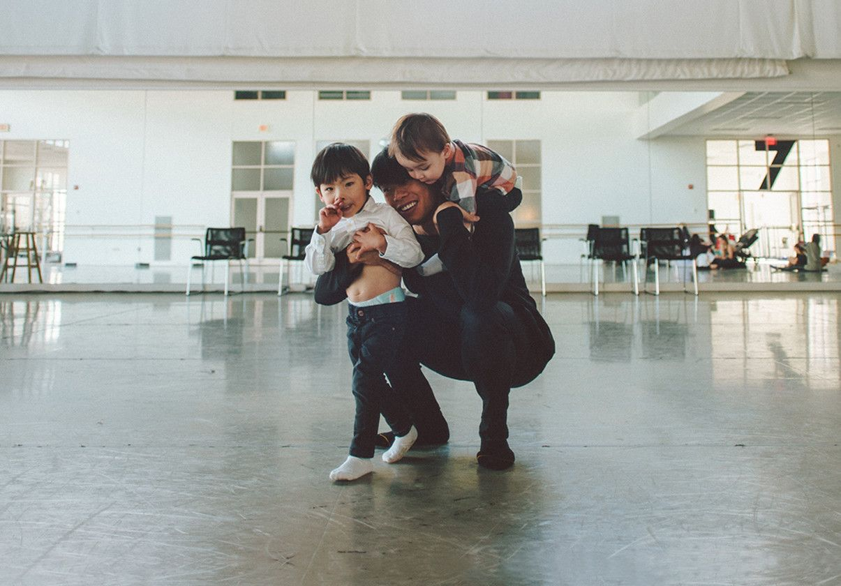 John Lam with his sons in Studio 7, photo by Kenneth Edwards
