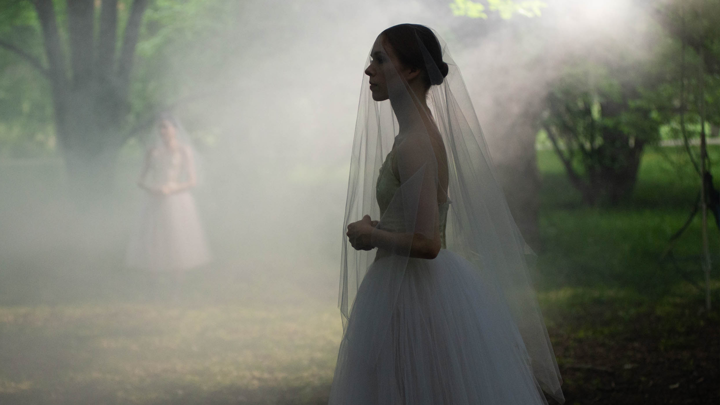 Willis behind the scenes at a video shoot for Giselle at the Arnold Arboretum of Harvard University. Photo by Brooke Trisolini.