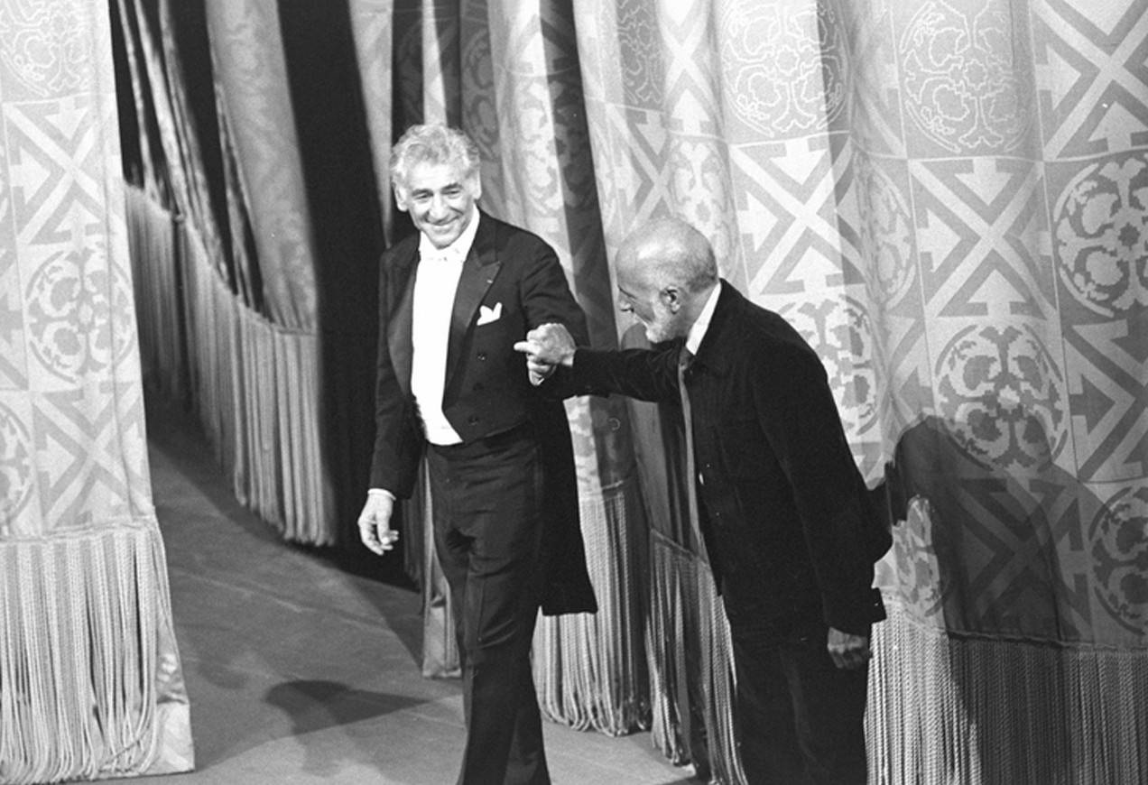 "New York City Ballet production of ""Dybbuk"", Leonard Bernstein (conductor) and Jerome Robbins take a bow together, choreography by Jerome Robbins (New York)"