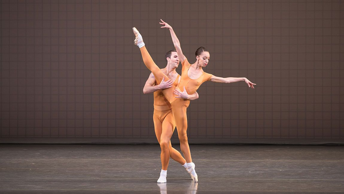 Dancers Chyrstyn Fentroy and Roddy Doble in Glass Pieces, choreography by Jerome Robbins. Photograph by Rosalie O'Connor