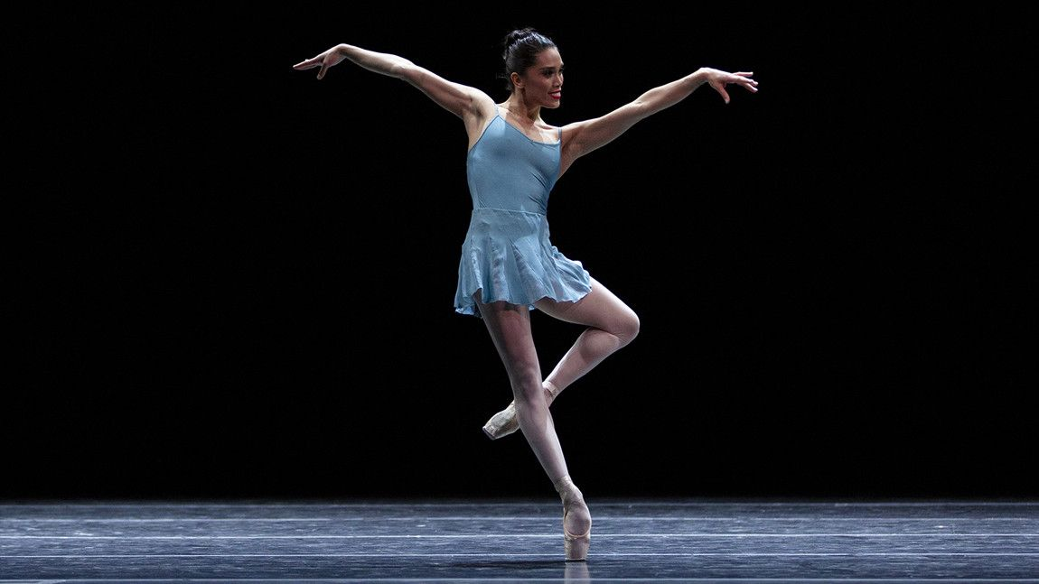 Lia Cirio on stage in William Forsythe's Blake Works I by Angela Sterling