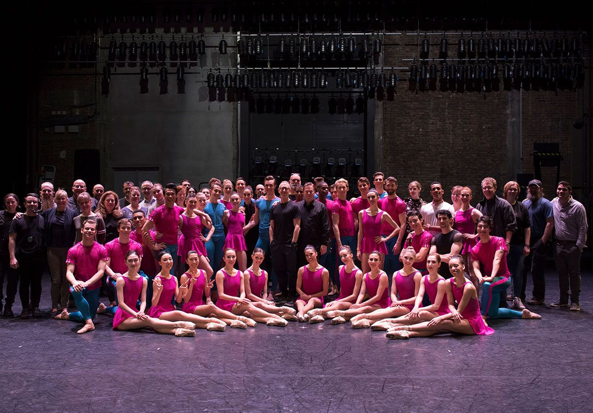 Boston Ballet dancers and staff in a group shot on stage at the Theatre Champes Elysee in Paris