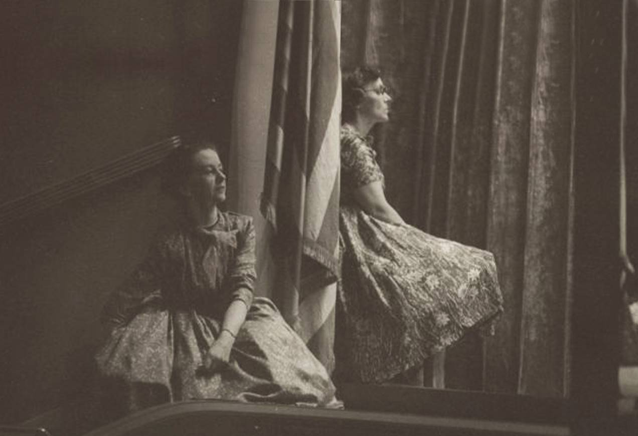 E. Virginia Williams and Sydney Leonard watch a performance or rehearsal of New England Civic Ballet , circa 1950s