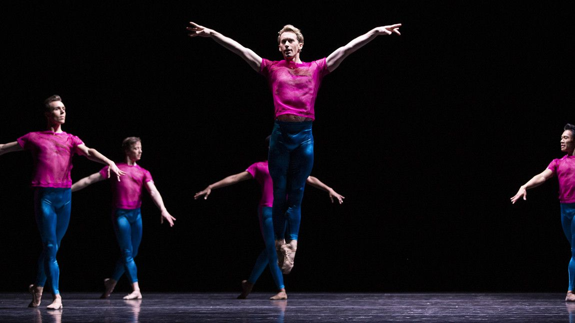 Patrick Yocum with Artists of Boston Ballet on stage in William Forsythe's Playlist (EP) by Angela Sterling