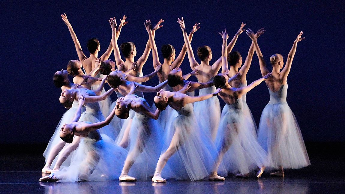 Boston Ballet dancers on stage in George Balanchine's Serenade photographed by Gene Schiavone