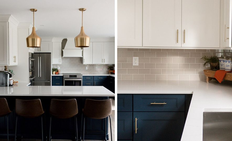 Cambria Ella countertops and two-toned cabinets in navy and white.