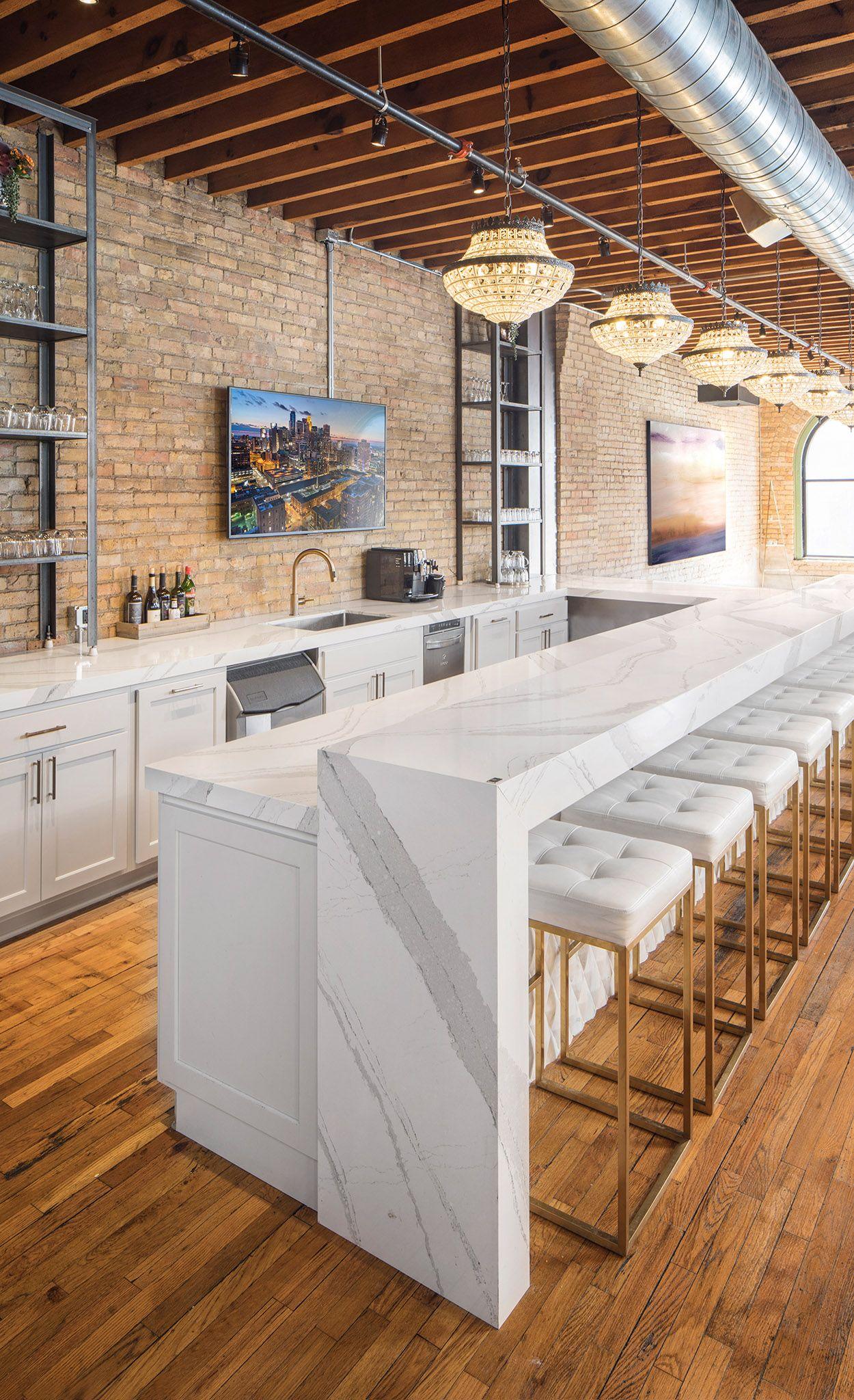 Stylish bar space with Brittanicca waterfall bar.